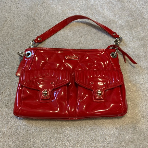 Coach Handbags - Authentic Red Patent Leather Poppy Shoulder Bag